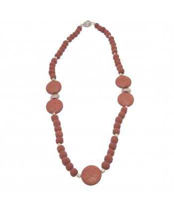 Necklace, Amaranta, lava stone and silver, made in Italy, limited edition