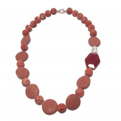 Collana, Julia, in pietra di lava, perle di fiume, radice di rubino ed argento, made in Italy, limited edition