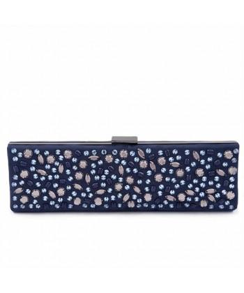 Bolsa de embrague, Lorene Azul, eco de gamuza con diamantes de imitación