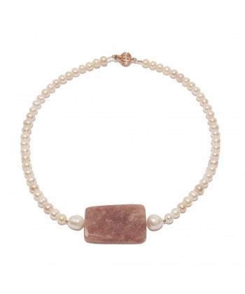 Collar, Sabaudia, río de las perlas, ónix y plata, hecho en Italia, edición limitada