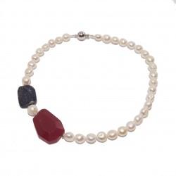 Collier en Or, des perles, de la racine de rubis, lapis-lazuli, bleu et argent, fabriqué en Italie, édition limitée