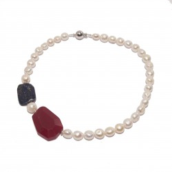 Necklace, Gold, pearls, root of ruby, lapis lazuli blue and silver, made in Italy, limited edition