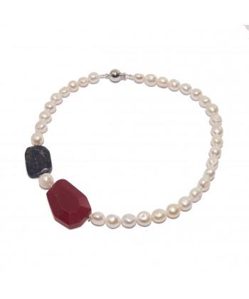 Collar, perlas, Oro, raíz de ruby, lapislázuli azul y plata, hecho en Italia, edición limitada