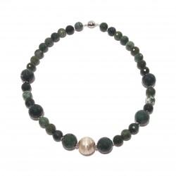 Collar, Venus, perlas, jade y plata, hecho en Italia, edición limitada