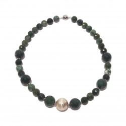 Necklace, Venus, pearls, jade and silver, made in Italy, limited edition
