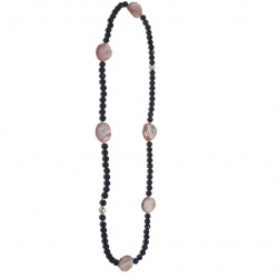 Collana, Calcedonia, in agata blu, calcedonia indiana ed argento, made in Italy, limited edition