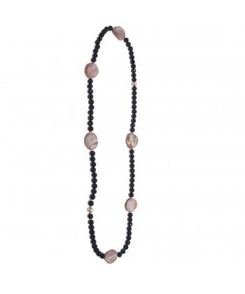 Halskette, Chalcedon, blauer achat, chalcedon und indische und silber, made in Germany, limited edition