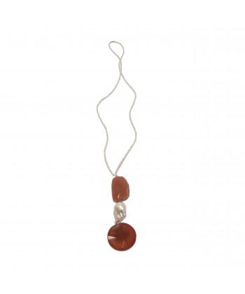 Colar, Cornalina, xade, cornalina, perlas e de prata, feita en Italia, edición limitada