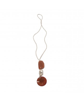 Necklace, Carnelian, jade, carnelian, pearls and silver, made in Italy, limited edition