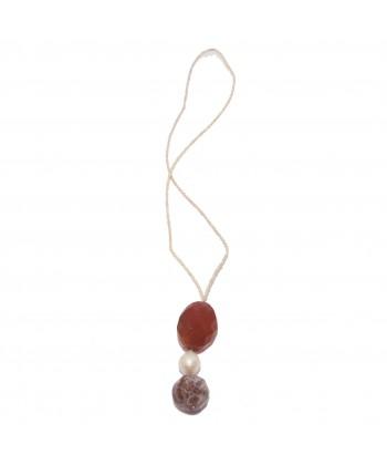 Collana, Barocca, in corniola, barocca, perle di fiume rosa ed argento, made in Italy, limited edition