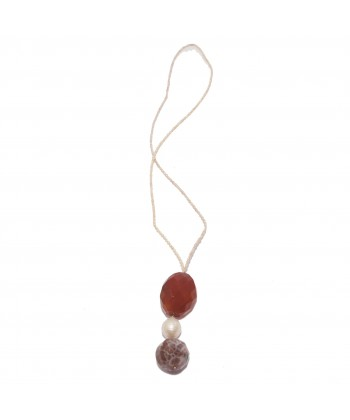 Collaret, Barroc, carnelian, barroc, perles d'aigua dolça amb la rosa i plata, fet a Itàlia, edició limitada