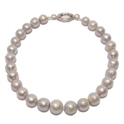 Necklace, Ari, gray pearls and silver, made in Italy, limited edition