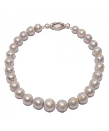 Collier, Ari, gris perles et d'argent, fabriqué en Italie, édition limitée