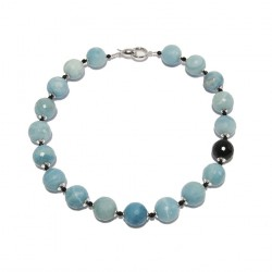 Necklace, Ilenia, amazonite, onyx and silver, made in Italy, limited edition