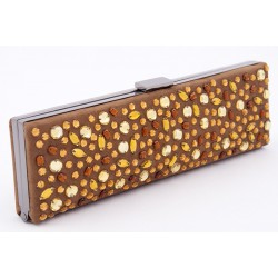 Bag clutch, Lorene Tobacco, in eco-suede with rhinestones