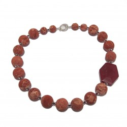 Necklace, Lorraine, stones, lava, coral, jade, red and silver, made in Italy, limited edition