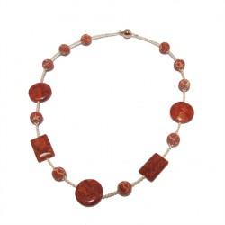 Colar, Marita, río perlas, pedras, lava, coral e prata, feita en Italia, edición limitada