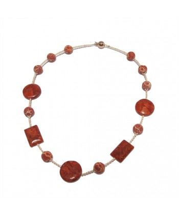 Collana, Marita, in perle di fiume, pietre di lava, corallo ed argento, made in Italy, limited edition