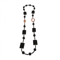 Necklace, Iolanda, pearls, onyx, onyx striated and silver, made in Italy, limited edition