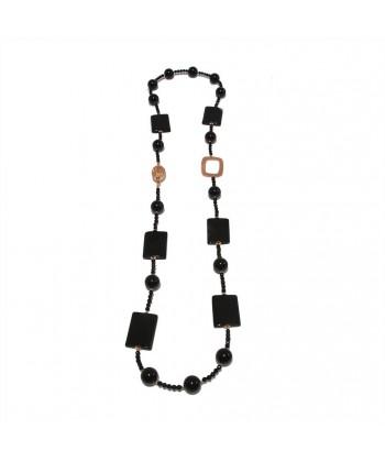 Collar, Yolanda, perlas, ónix onyx estriado y de la plata, hecho en Italia, edición limitada