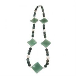 Collar, Olga, perlas naturales ágata, calcedonia y la plata, hecho en Italia, edición limitada