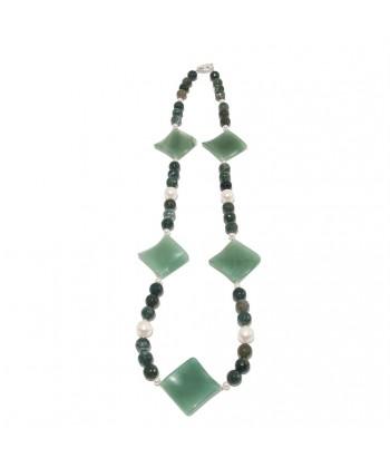 Halskette, Olga, natürlichen perlen, achat, aventurin und silber, made in Germany, limited edition