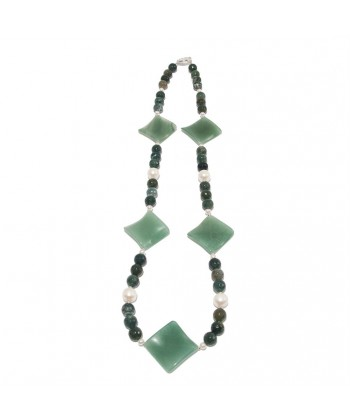 Necklace, Olga, natural pearls, agate, aventurine and silver, made in Italy, limited edition