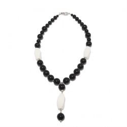 Collar, Mariella, perlas, ónix, ágata y plata, hecho en Italia, edición limitada