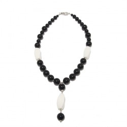 Necklace, Mariella, pearls, onyx, agate, and silver, made in Italy, limited edition