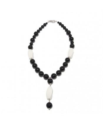 Collier, Mariella, perles, onyx, agate, argent, fabriqué en Italie, édition limitée