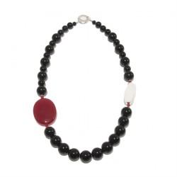Halskette, Mara, steine aus onyx, weißem achat und silber, made in Germany, limited edition