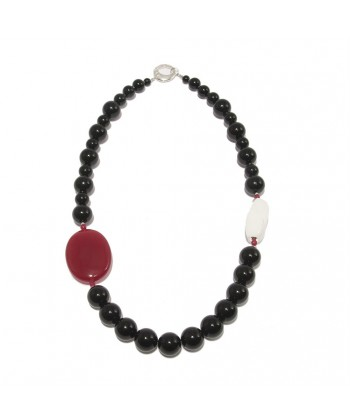 Collana, Mara, in pietre di onice, agata bianca ed argento, made in Italy, limited edition