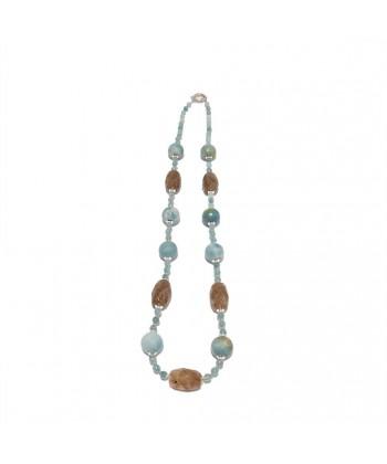 Collana, Iole, in pietre di opale azzurro, quarzo rutile, agata striata ed argento, made in Italy, limited edition