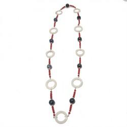 Halskette, Meiner, steine, blauer achat, koralle, perlmutt und silber, made in Germany, limited edition