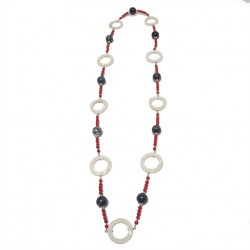 Necklace, Mia, in the stones of blue agate, coral, mother-of-pearl and silver, made in Italy, limited edition