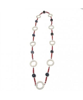 Collar, Mia, en las piedras de ágata azul, coral, nácar y plata, hecho en Italia, edición limitada