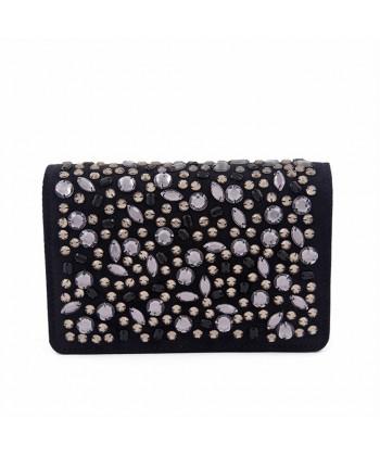 Bag clutch, Emogine Black, in eco-suede with rhinestones