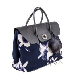 Bolso de mano, Bridget Azul, cuero de imitación