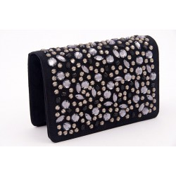Bolsa de embreagem, Emogine Negro, en eco-camurça con strass