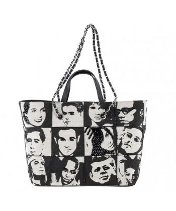 Hand bag, Alexia, Black, fabric