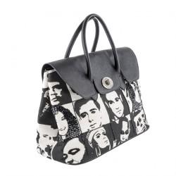 Hand bag, Aura, Black, fabric