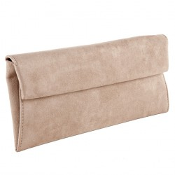 Bag clutch, Esterina Beige, faux leather