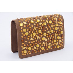 Bag clutch, Emogine Tobacco, in eco-suede with rhinestones