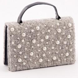 Bolsa de embrague, Esmeralda, Gris perla