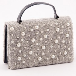 Clutch-tasche, Emerald pearl grey