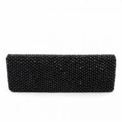 Bolsa de embreagem, Karan Negro, tecido con pedras