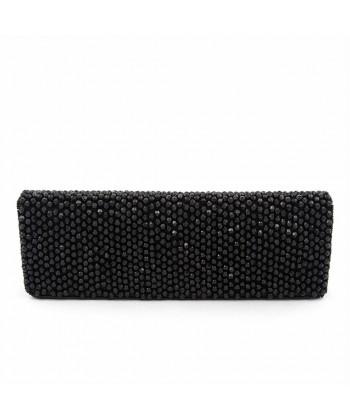 Bolsa de embrague, Karan Negro, de tela con piedras