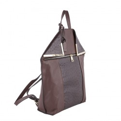 Saco mochila, Philippa Marrón, coiro