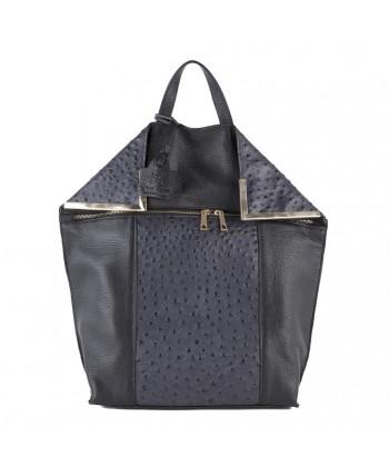 Saco mochila, Philippa Gris, de coiro