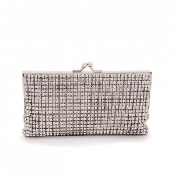 Bag clutch, Ally Silver fabric with rhinestones